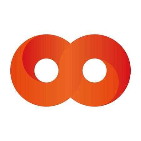 Orange infinity symbol icon. 3D-like gradient design effect. Vector illustration. Illustration
