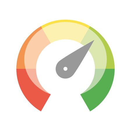 Radial gauge scale from red to green with arrow hand pointer. Satisfaction, temperature, risk, rating, performance and feedback indicator or speed tachometer. Vector illustration.