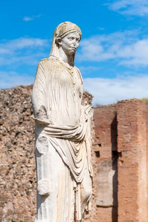 Antique marble statue of Vestal Vigin. House of Vestals at Roman Forum, Rome, Italy. Stock Photo - 130278076
