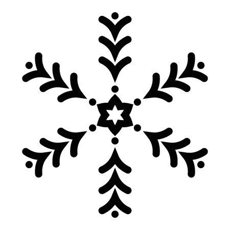 Snowflake icon. Christmas and winter theme. Simple flat black illustration on white background.