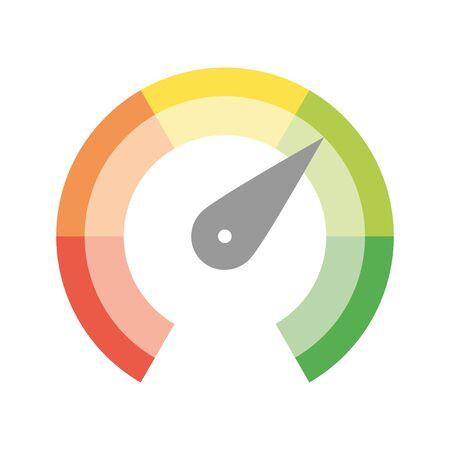 Escala de calibre radial de rojo a verde con puntero de mano de flecha. Indicador de satisfacción, temperatura, riesgo, calificación, rendimiento y retroalimentación o tacómetro de velocidad. Ilustración vectorial. Ilustración de vector