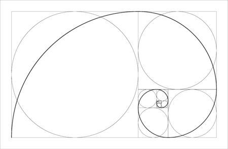 Golden ratio geometric concept. Fibonacci spiral. Vector illustration Vektorové ilustrace