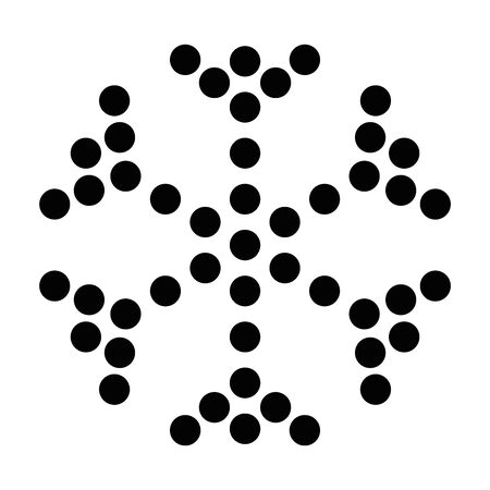 Simple black dotted snowflake. Vector icon. Christmas and winter theme.