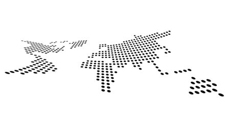 Dotted map of World. Side view distortion. Black vector dots on white background.