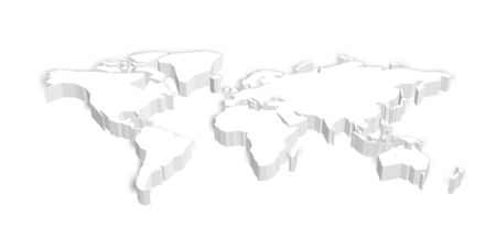 3D map of World with shadow. Vector illustration.