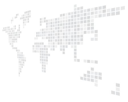 Pixelized map of World. Side perspective. Black vector map.