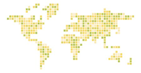 World map yellow mosaic of small squares. Vector illustration.