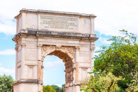 Arch of Titus on Via Sacra, Roman Forum, Rome, Italy.