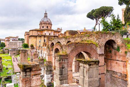 Church of Saint Luca and Martina and Curia Julia senate house. Roman Forum, Rome, Italy.