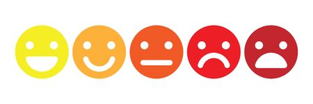 Basic emoticons set. Five facial expression of feedback scale - from positive to negative. Simple colored vector icons.