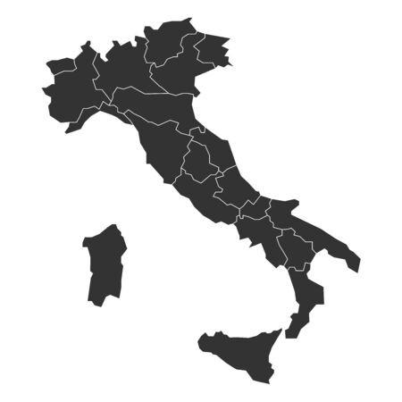 Blank map of Italy divided into 20 administrative regions.