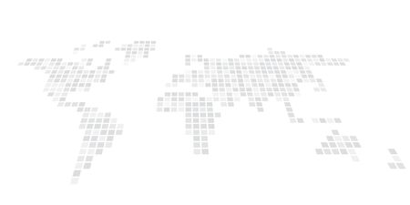 Pixelized map of World. Front perspective. Black vector map.