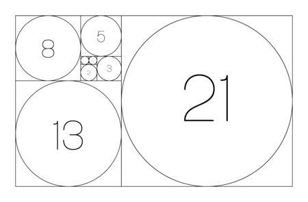 Fibonacci sequence of circles. Golden ratio geometric concept. Vector illustration. Ilustração