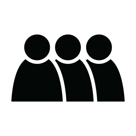 3 people icon. Group of persons. Simplified human pictogram. Modern simple flat vector icon.