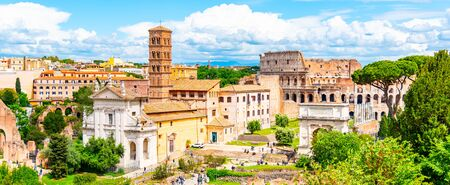 Colosseum and Roman Forum, Latin: Forum Romanum, most important cenre in ancient Rome, Italy. Aerial view from Palatine Hill. Banco de Imagens
