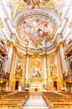 Picturesque interior of church of St. Ignatius of Loyola at Campus Martius.