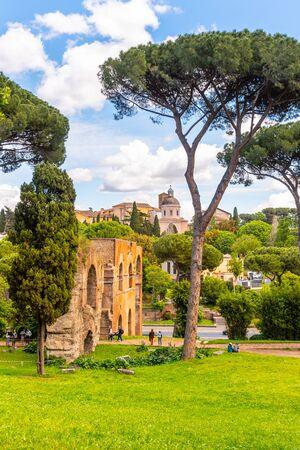 Ruins of ancient Aqua Claudia Aqueduct on Palatine Hill, Rome, Italy.