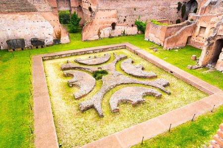 Lower Courtyard at Domus Augustana. Ancient ruins on Palatine Hill, Rome, Italy.
