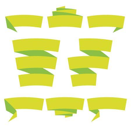 Folded ribbon banner set. Collection of green label templates. Vector illustration. 向量圖像