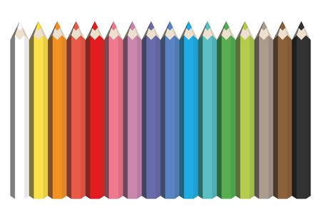 Colorful spectrum of pencils. Sharpened crayons set. Vector illustration.
