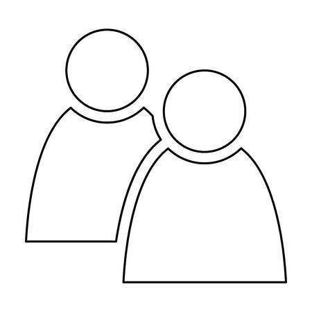 2 people tandem icon. Group of persons. Simplified human pictogram. Modern simple flat vector icon.