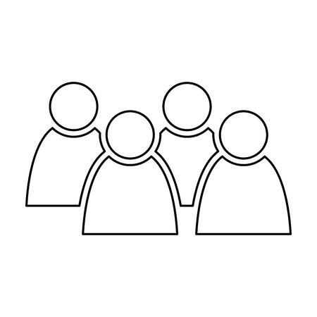 4 people icon. Group of persons. Simplified human pictogram. Modern simple flat vector icon.