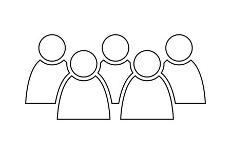 5 people icon. Group of persons. Simplified human pictogram. Modern simple flat vector icon.