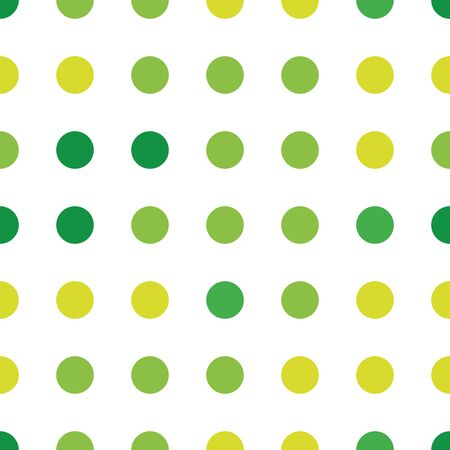 Seamless polka dot pattern in different colors. Green theme. Sipmle flat vector wallpaper 일러스트