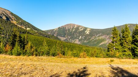 Snezka - the highest mountain of Czech Republic. View from valley. Giant Mountains, Krkonose National Park.