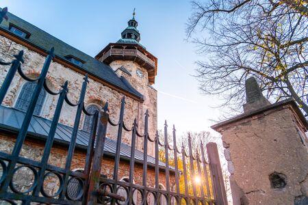 Detailed view of tower of St George Church in Horni Slavkov. Sunny autumn day. Czech Republic. 版權商用圖片