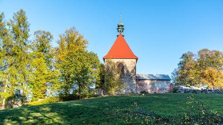 St George Church in Horni Slavkov. Sunny autumn day. Czech Republic.