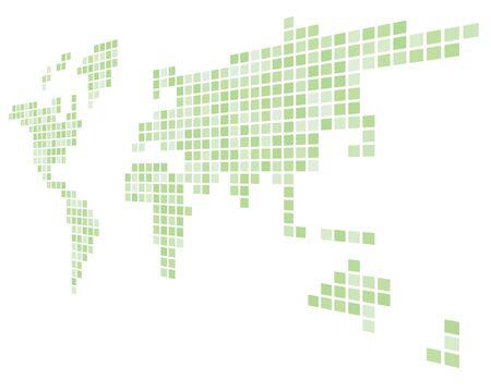 Carte pixelisée du monde. Point de vue de côté. Carte vectorielle noire.