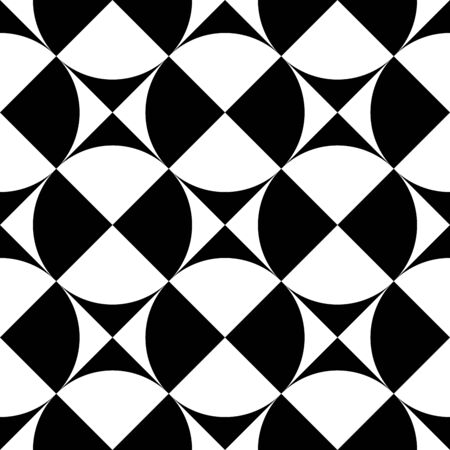 Geometrical signs - circles and squares. High contrast retro seamless pattern in black and white. Vector illustration.