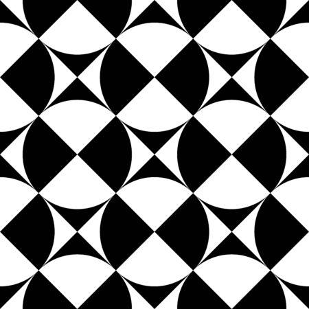 Signes géométriques - cercles et carrés. Motif rétro sans couture à contraste élevé en noir et blanc. Illustration vectorielle.