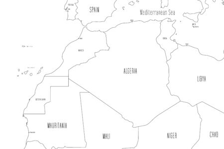 Map of North-western Africa. Handdrawn doodle style. Vector illustration.