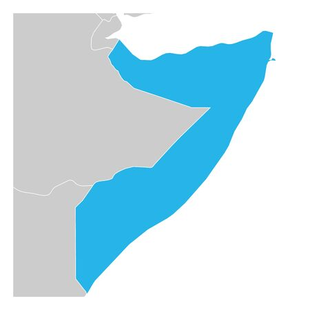 Map of Somalia green highlighted with neighbor countries.