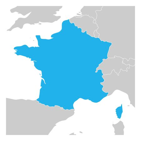 Map of France green highlighted with neighbor countries.