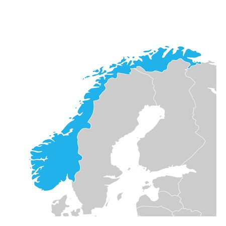 Map of Norway green highlighted with neighbor countries.