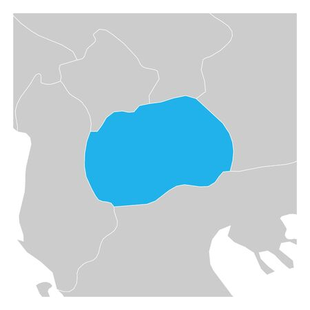 Map of Macedonia green highlighted with neighbor countries.
