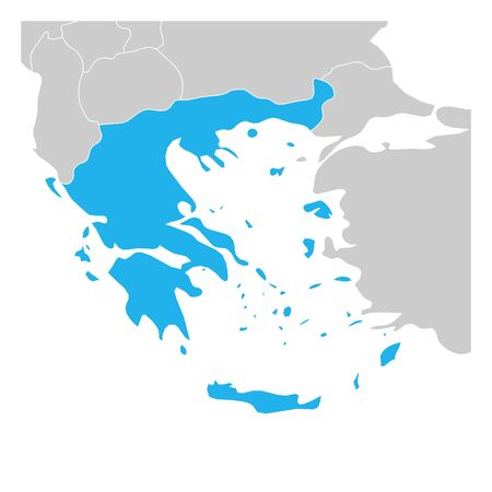 Map of Greece green highlighted with neighbor countries. Ilustracja