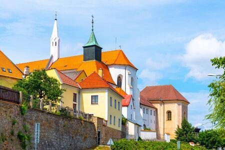 Church of St. John the Baptist and Minorite monastery in Jindrichuv Hradec, Czech Republic. Stock Photo