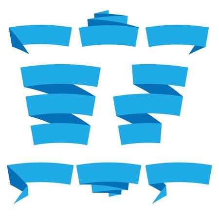 Folded ribbon banner set. Collection of blue label templates. Vector illustration.