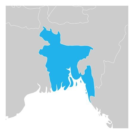 Map of Bangladesh blue highlighted with neighbor countries.