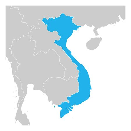 Map of Vietnam green highlighted with neighbor countries.