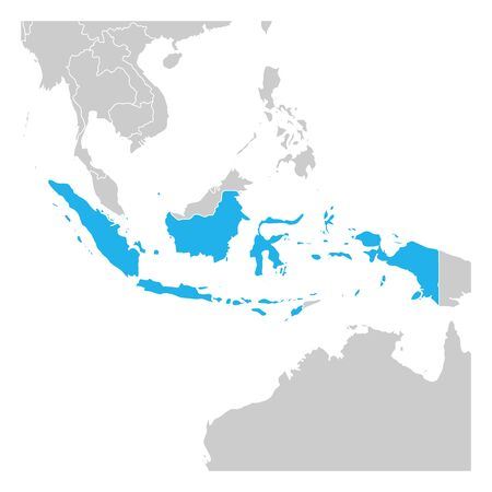 Map of Indonesia green highlighted with neighbor countries.