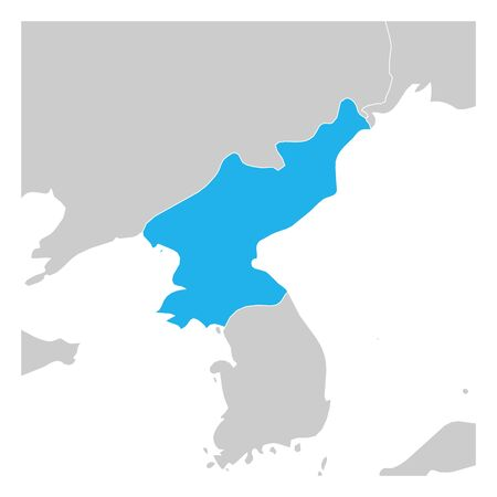 Map of North Korea green highlighted with neighbor countries.