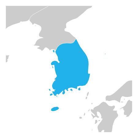 Map of South Korea green highlighted with neighbor countries.