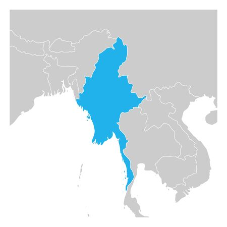 Map of Myanmar green highlighted with neighbor countries.