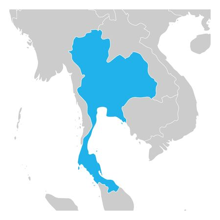 Map of Thailand green highlighted with neighbor countries.