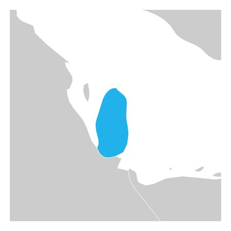 Map of Qatar blue highlighted with neighbor countries. Stock Illustratie
